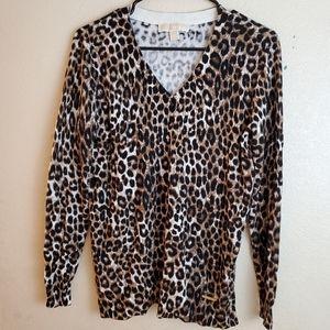 Michael Kors Animal Print Cheetah Cardigan Sweater